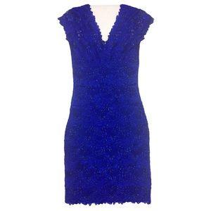 Le Château Women's Lace Beaded Dress X-Small blue